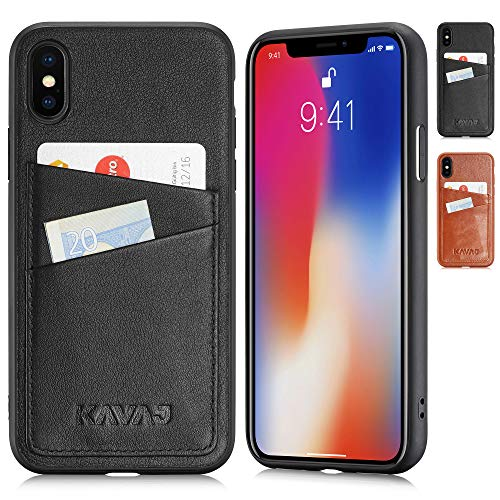 KAVAJ iPhone Xs/X 5.8 Case Leather Tokyo Black, Supports Wireless Charging (Qi), Slim-Fit Genuine Leather iPhone Xs Wallet Case Leather Bumper Case with Business Card Holder Cover