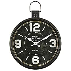 Framy Vintage Wall Clock, Oversized Retro Antique Metal Pocket Watch Wall Clock Home Living Room/Bedroom 31.5x42cm,a
