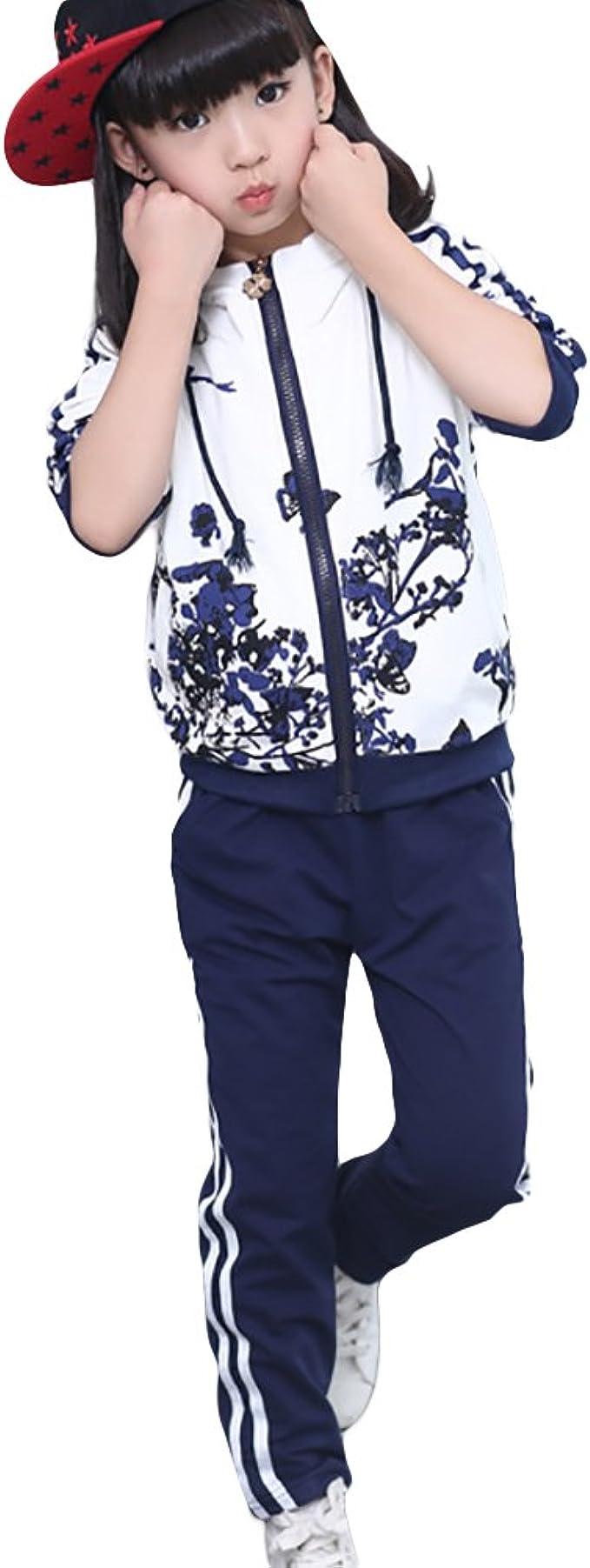 SXSHUN Niñas (3-12 Años) Traje de Chándal con Estampado de ...