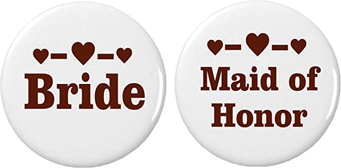 Amazon com: Set 2 Bride / Maid of Honor Brown Heart Buttons Pins