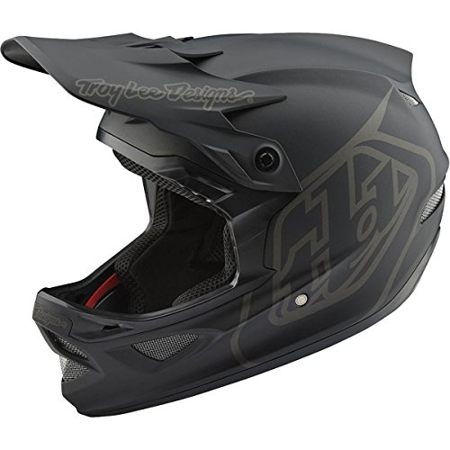 Troy Lee Designs D3 Fiberlite Mono Full-Face Downhill BMX Mountain Bike Adult Helmet with TLD Shield Logo (Small, Black)