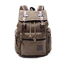 Vintage Canvas Leather Hiking Travel Military Backpack for Women and Men