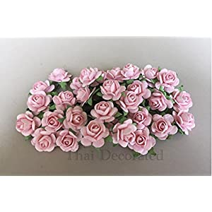 100 Pcs Hight Quality Pink Color Mulberry Paper Flowers of Wedding Roses : 15mm. By Thai Decorated' 3