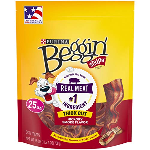 Purina Beggin' Made in USA Facilities Dog Treats; Strips Thick Cut Hickory Smoke Flavor - 25 oz. Pouch