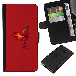 All Phone Most Case / Oferta Especial Cáscara Funda de cuero Monedero Cubierta de proteccion Caso / Wallet Case for HTC One M9 // Hot Pepper Fire - Funny