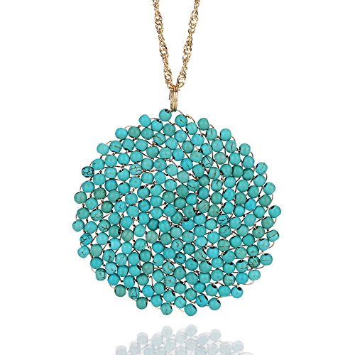 Niumike Stone Circle Pendant Disc Necklace for Girls, Hand-Made Beautiful Bright Long Necklaces, Box,Created-Turquoise