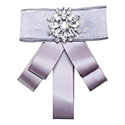 Ribbon Neck Tie with Crystal Brooch for Men & Women