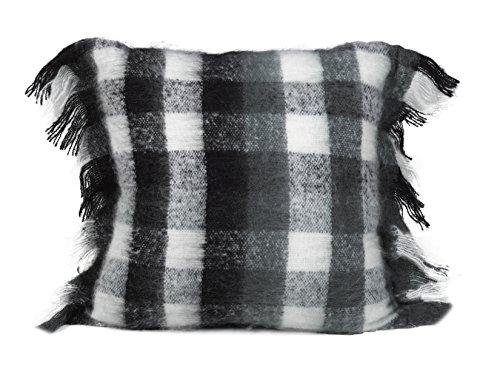 Urban Loft by Westex Mohair Plaid Black/Grey/White Sofa Cushion Decorative Throw Pillow Cover, 20 x (Grey Mohair)