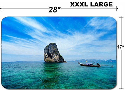 Liili Large Table Mat Non-Slip Natural Rubber Desk Pads Traditional Thai boat in the blue sea of Thailand Photo (Best Liili Nature Boas)