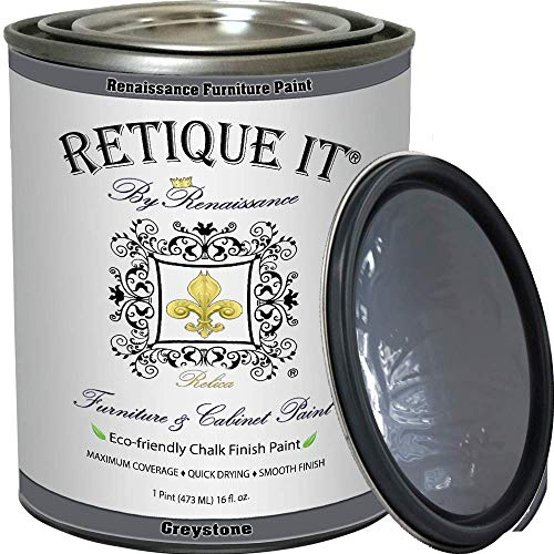 Retique It Chalk Furniture Paint by Renaissance DIY, 16 oz (Pint), 06 Greystone