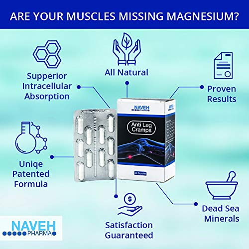 Anti Leg Cramps Magnesium Supplement for Muscle Pain Relief, Nocturnal Leg Cramps, Pregnancy Cramps, Calf Cramps, Cramps in Feet, Charley Horse – Natural, Proven Remedy by Naveh Pharma, 50 Capsules