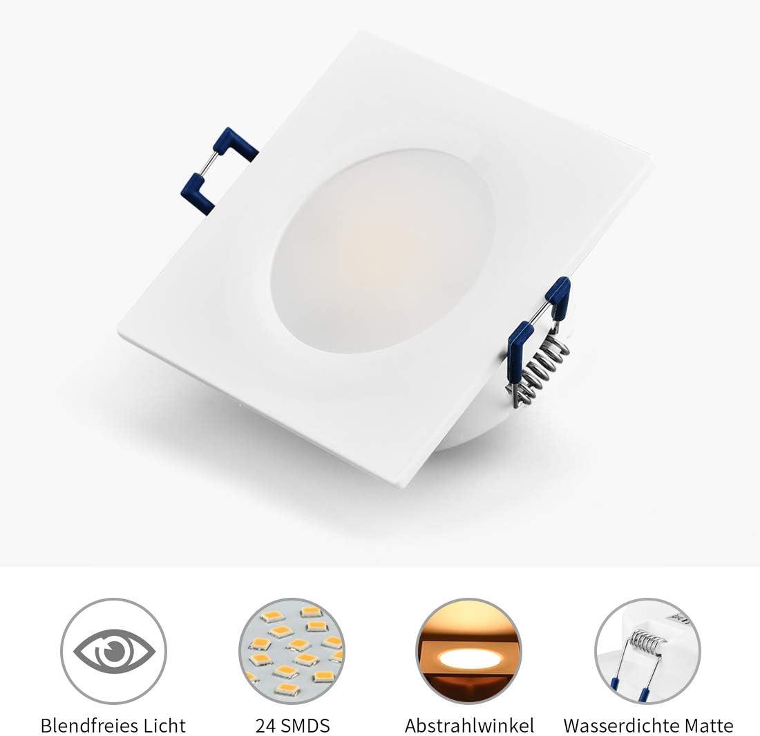 Argento, Rotondo KYOTECH Faretti LED Incasso,set da 6,bianco caldo 3000K 6W 230V 500Lumen,luci ultrasottili da soffitto,IP44 pu/ò essere utilizzato in ambienti umidi