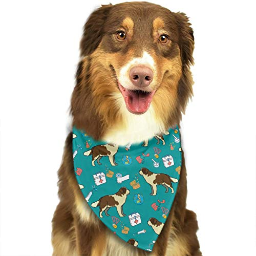 OURFASHION Saint Bernard Bandana Triangle Bibs Scarfs Accessories for Pet Cats and Puppies.Size is About 27.6x11.8 Inches -