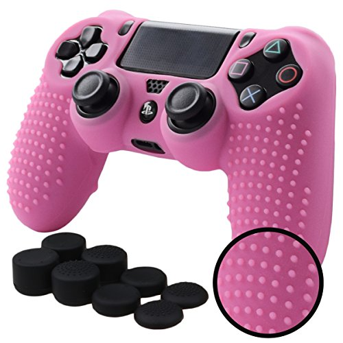 Pandaren STUDDED Anti-slip Silicone Cover Skin Set for Sony Playstation 4/PS4/PS4 Slim/PS4 Pro Controllers(Pink controller skin x 1 + FPS PRO Thumb Grips x 8)