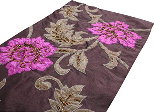 Handmade, Designer, Decorative Table Runners - Dark Brown, Olive Green, Fuchsia Pink - 14 x 64 inch - Silk - Beaded Dark Coffee Luscious Blossoms Applique Velvet Embroidered for Dining Table ()