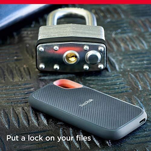 SanDisk Extreme SSD portátil de 500GB - NVMe, USB-C, cifrado por hardware, hasta 1050MB/s, resistente al agua y al polvo