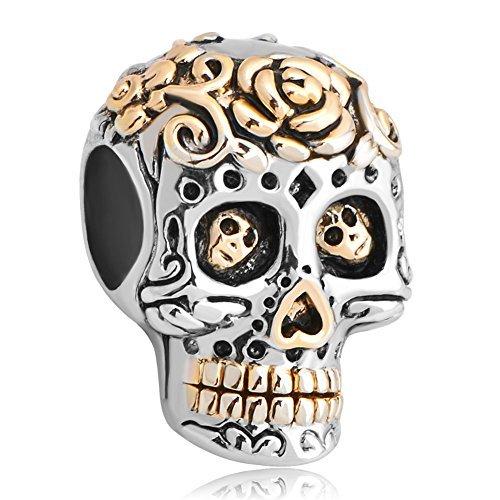(Fit Pandora Charms Silver Plated Dia De Los Muertos Skull Charm Bead (4.8-5mm),)