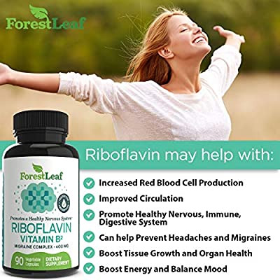 Vitamin B2 Riboflavin, 400mg - 90 Capsules - Promotes Healthier Blood, Nervous System and Helps Boost Energy and Metabolism – Non-GMO, Gluten Free Daily Dietary Supplement – by ForestLeaf