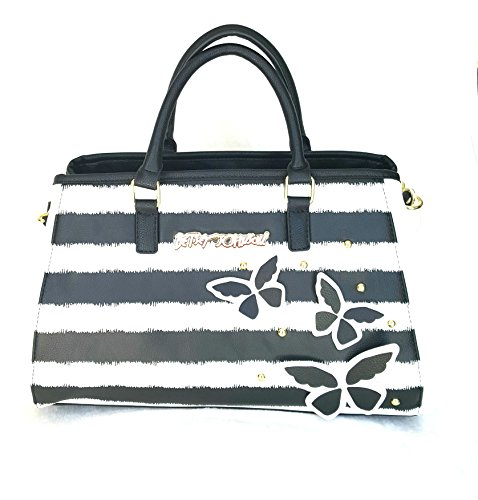 - Betsey Johnson BOWLER SATCHEL STRIPE