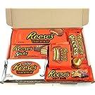 Reeses Geschenkkorb aus USA | Peanut Butter und Schokolade | Auswahl beinhaltet Peanut Butter Cups, Pieces, Nut Bars, Miniatures | 7 Produkte in einem kleinen retro Süßigkeitenkorb