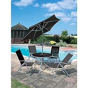 6pc muebles de jardín patio negro sombrilla juego de mesa plegable de espalda alta sillas