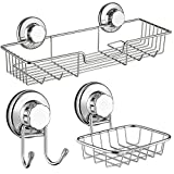 SANNO Bath Shower Caddy Soap Dish Double Bath Hook-Bath Organizer Kitchen Storage Basket for Shampoo, Conditioner, Soap- Anti Rust Stainless Steel (Set of 3)