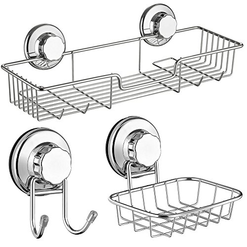 Natural Finish 5 Tile Piece (SANNO Bath Shower Caddy/Soap Dish/Double Bath Hook-Bath Organizer Kitchen Storage Basket for Shampoo, Conditioner, Soap- Anti Rust Stainless Steel (Set of 3))