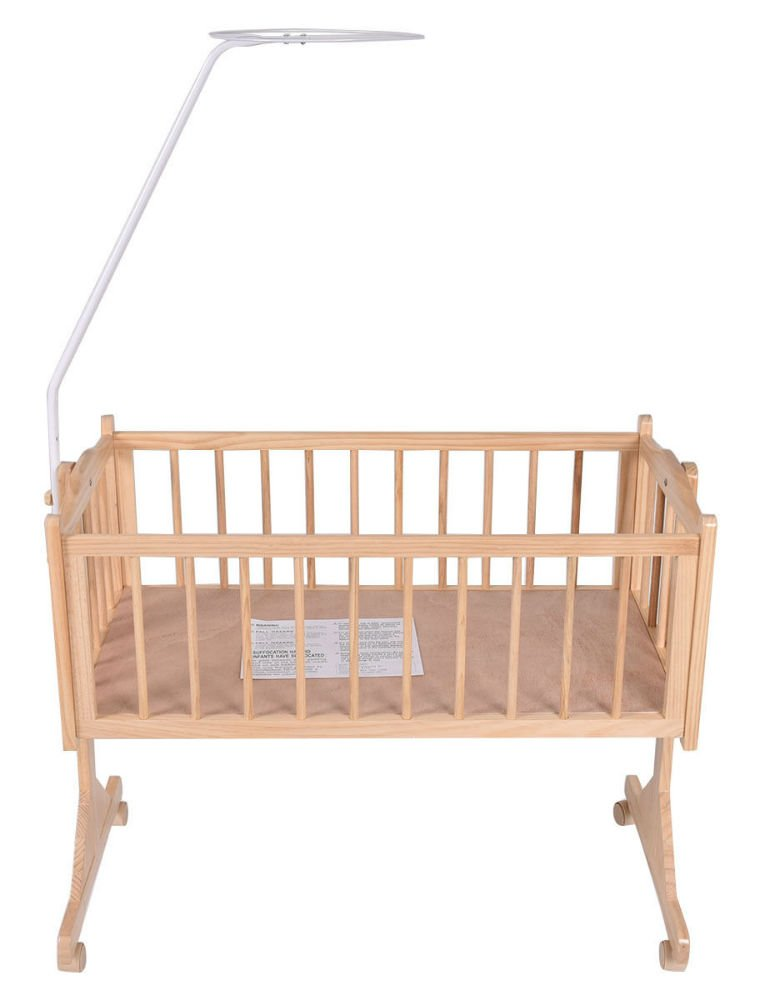 Wood Baby Cradle Rocking Crib Bassinet Bed Sleeper Born Portable Nursery Yellow by Unknown (Image #5)