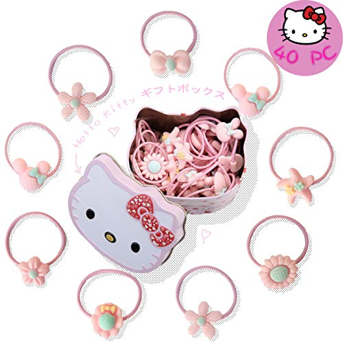 Little Angels Kids 40-PC Baby Girls Hair Ties, Little Girl Hair Elastic Ropes, Toddler Pigtail Ponytail Holder Hello Kitty Box ()