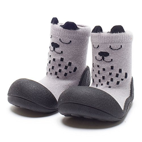 Attipas Best First Walker Shoes Baby Cotton Socks Shoes Non Toxic Safe Great Baby Registry Gifts (US Toddler 5.5, Cutie Grey)