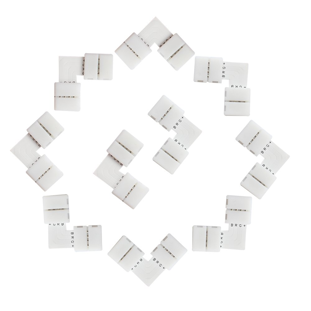 LightingWill 20pcs Pack L Shape Solderless Snap Down 4Conductor LED Strip Connector for Right Angle Corner or 90 Turning Connection for 10mm Wide 5050 RGB Flex LED Strips by LightingWill (Image #3)