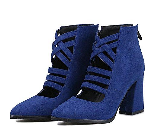 Puolivälissä Saappaat Sininen Lohkon Aisun Naisten Kengät Sandaalit Korkokengät Teräväkärkiset Muoti Vetoketju xHpqzRXp