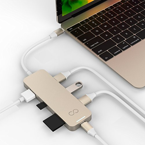 Blucoil USB Type-C Hub with 4K HDMI, 3X USB 3.0, USB-C Pass-Through Charging Ports, MicroSD/SD Card Reader Slots - Compatible with MacBooks, Chromebooks, Mac and Windows Notebooks (Gold)