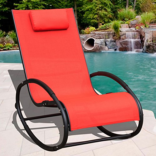 Sundale Outdoor Patio Aluminum Zero Gravity Chair Orbital Rocking Lounge Chair with Pillow Wave Rocker, Capacity 250 Pounds,Red by Sundale Outdoor