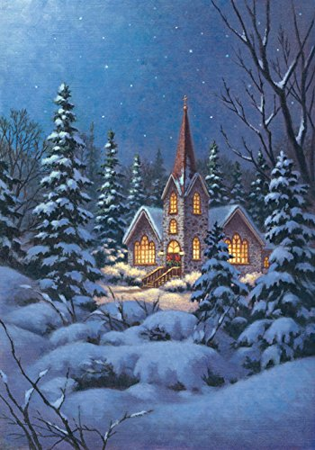 Toland Home Garden Snowy Steeple 28 x 40 Inch Decorative Winter Snow Christmas Church House Flag