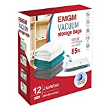 What Size Is a European King Mattress EMGM Vacuum Storage Bags 12 Pack Jumbo Reusable Space Saver Bags - Save 85% More Storage Space, Double Zip Seal & Leak Valve - for Bedding, Pillows, Clothes Bags 40X30 Inch Storage Bags Organizers