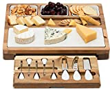 Shanik Cheese Board With 7 Piece Stainless Steel Cutlery Set - Acacia Wood Charcuterie Board and Cheese Serving Platter With Slide-Out Drawer, 3 Ceramic Bowls, Double Sided Marble Blade, Perfect Gift