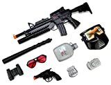 Cool SWAT Super Police Force M16 Friction Toy Gun Combo Play Set w/ Friction Toy Gun, Toy Pistol, Police Badge, Glasses, Mask, Baton, Camera, Canteen, Binoculars, Police Gear, Police Toys