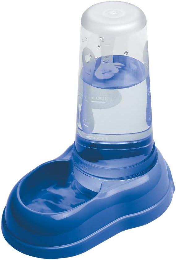 Ferplast Dispensador de Comida o Agua para Perros y Gatos AZIMUT 600, croquetas, Comida Seca o Agua, 0,6 L, Plástico, Depósito Transparente, Base Antideslizante, 12,5 x 19 x h 19,5 cm Azul Marino