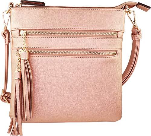 Vegan Mini Multi-Zipper Crossbody Handbag Purse with Tassel Accents with RFID Protection (Rose Gold RF)