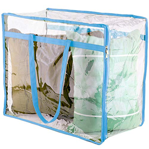 Wappa Home Clear Vinyl Zippered Storage Bags 18x15x9 Inch - Sturdy Storage Bags for Sweaters, Blankets, Comforters, Bedding Sets and Much More! (Light Blue, 18x15x9) (Blue Comforter Light Sets)