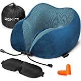 HOMIEE Travel Pillow Airplane Pillow Neck Support Memory Foam Cushion Essentials with Sleep Mask, Earplugs - Portable Storage Bag Included, Ideal for Travelling and Flights (Blue)