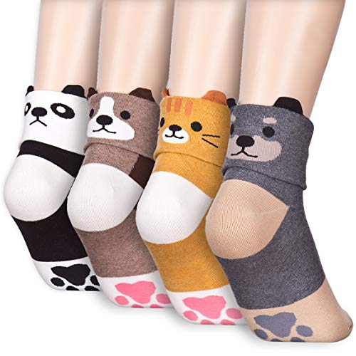 Casual Socks Set - Foldable Two Face Animal Character Design Casual Micro Crew Quarter Socks Christmas Holiday Gift Set (Onesize, 4 Pairs)