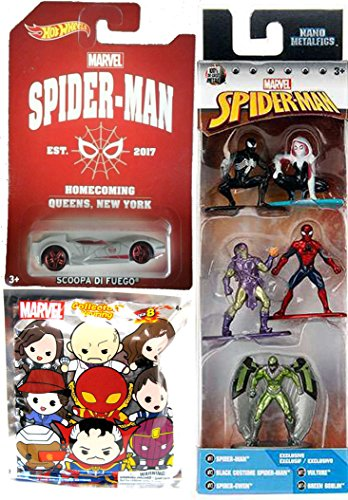 [Marvel Nano Metalfigs Spider-Man, Black Costume Spider-Man, Spider-Gwen, Vulture & Green Goblin 1.5-Inch Diecast Figure 5-Pack + Blind Bag Keyring & Hot Wheels Homecoming Exclusive Chase Car] (Peter Parker Costume Ultimate Spider Man)