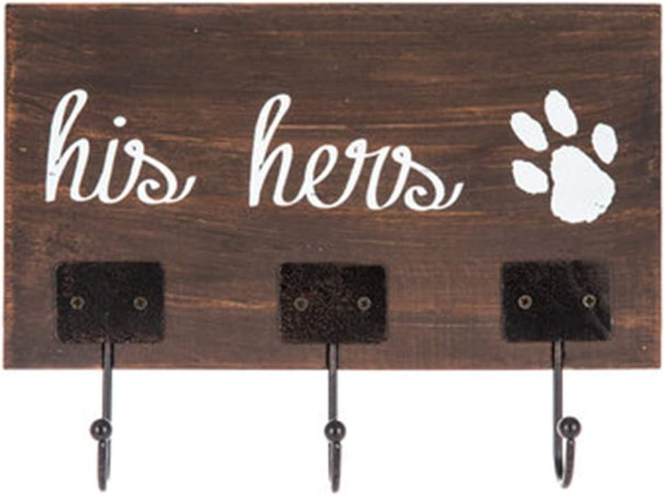 Mission Gallery His and Hers and The Dog Paw Print Wall Hook Home Decor Wooden 9""