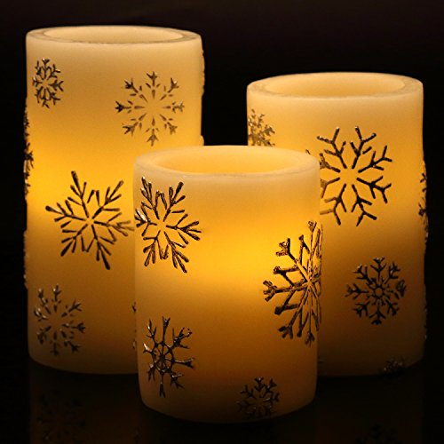 Snowflake Pillar (Vinkor Flameless Candles LED Light Pillar Wax Candles Ombre Cream White w/ Snowflake Holiday Design - Ideal For Ambient & Romantic Atmosphere - Timer & Remote Controlled - Set of)