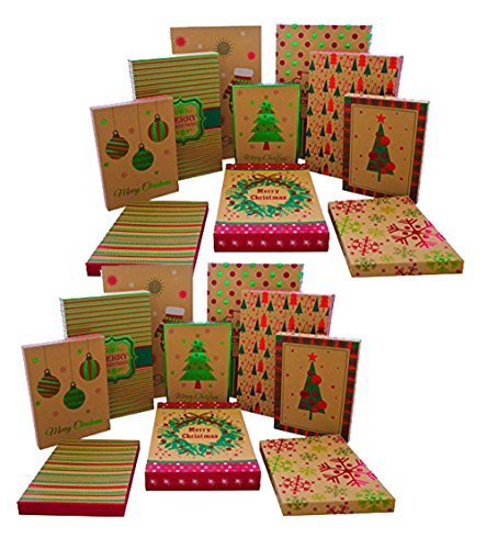Set of 20 Black Duck Brand Kraft Foil Christmas Gift Boxes in 3 Different Sizes -