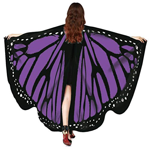 iDWZA Women Butterfly Wings Shawl Scarves Pixie Party Cosplay Costume Accessory(168135cm,Purple -1)