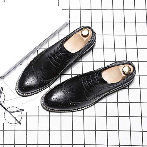 Formale Scarpe Nero Nozze Inteligente Foderato da Pelle Sera Allacciare Uomo Francesine Wide in NXY Fit qF86zx
