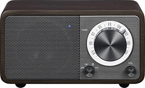 (Sangean WR-7DK Wood Cabinet Mini Bluetooth Speaker with FM Radio Tuner and Aux-in Dark Cherry/Wood)